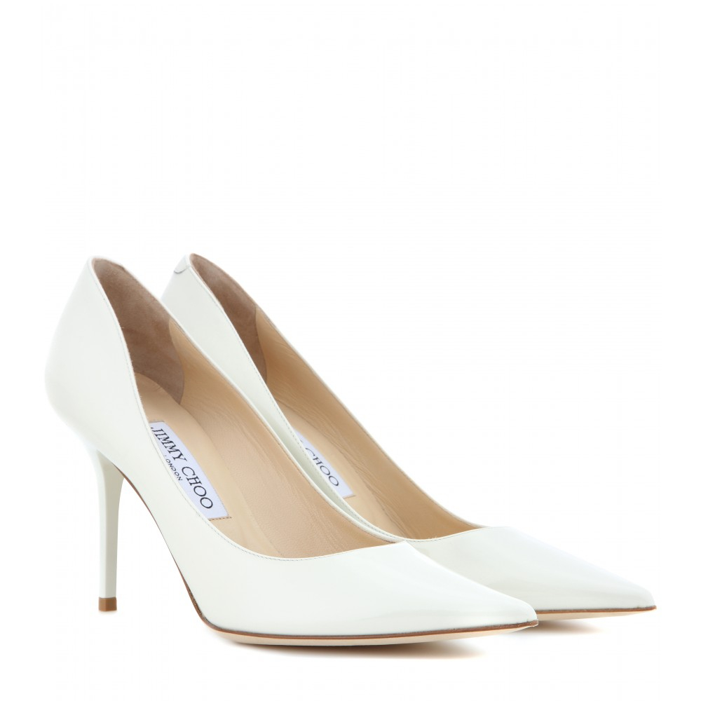 e8d52251991d Jimmy Choo Agnes Patent Leather Pumps in White - Lyst