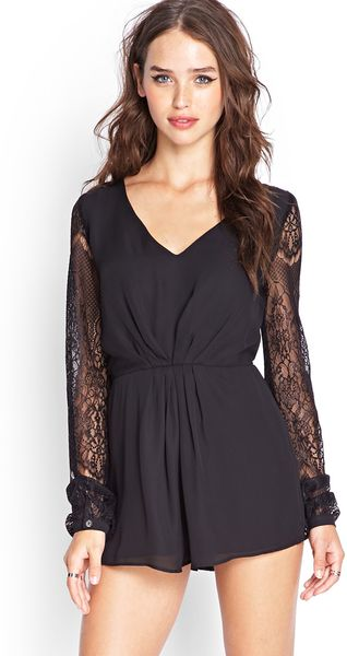 Forever 21 Floral Lace Pleated Romper in Black