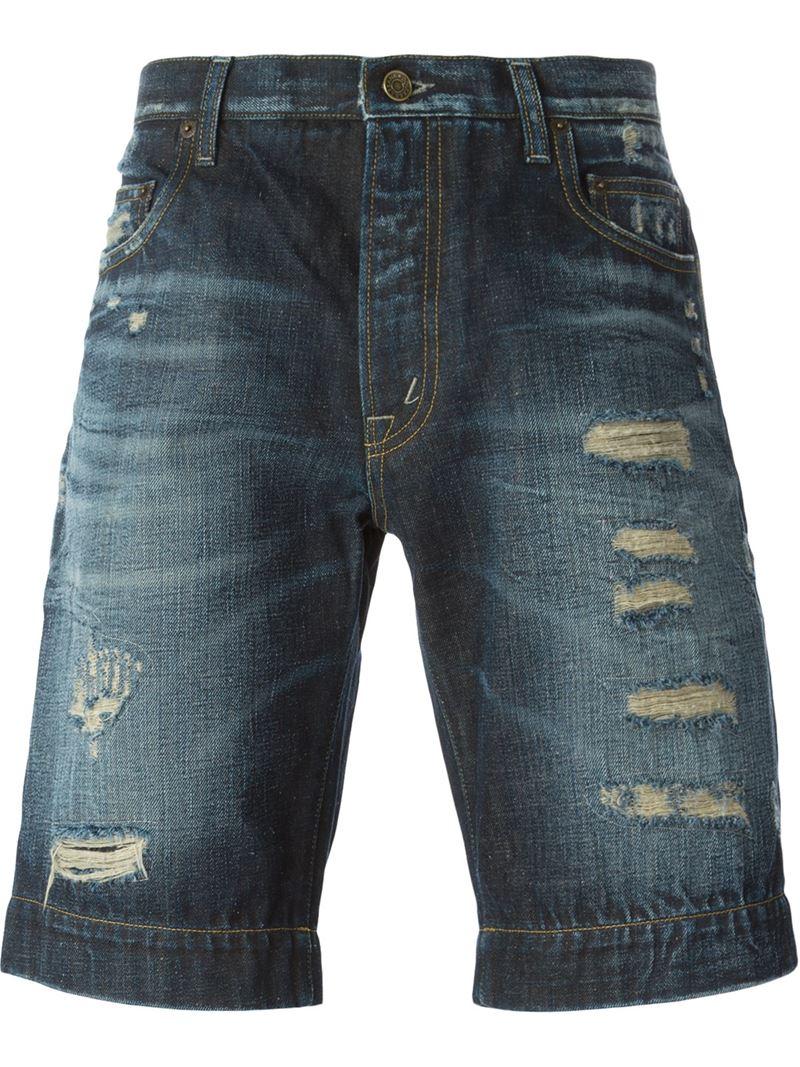 dolce amp gabbana ripped denim shorts in blue for men lyst