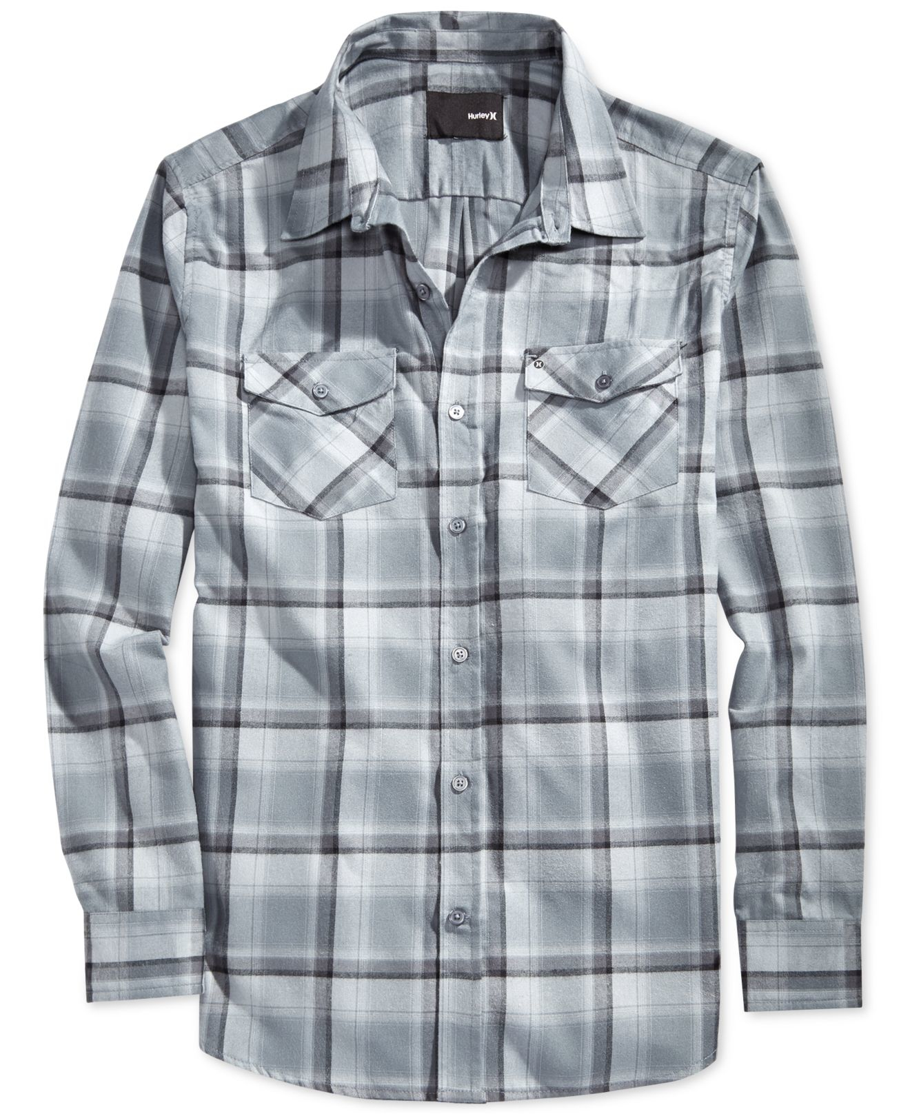 Lyst Hurley Bailey Dri Fit Plaid Long Sleeve Shirt In Gray For Men