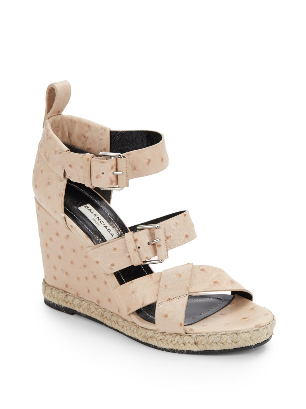 ce1b6d172a46 Lyst - Balenciaga Ostrich-embossed Leather Wedge Espadrille Sandals ...