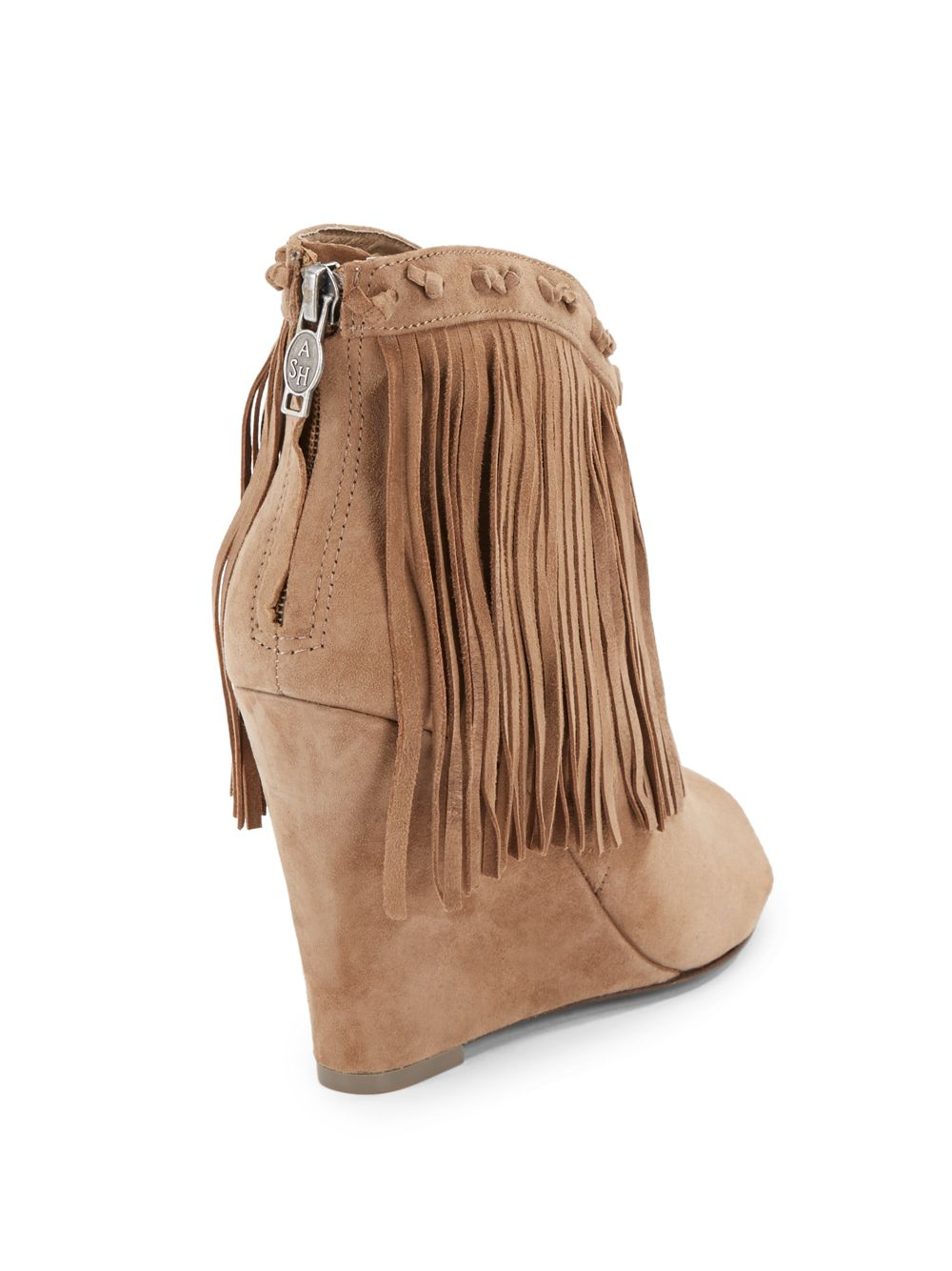Ash Janis Fringe Nubuck Wedge Ankle Boots in Natural   Lyst