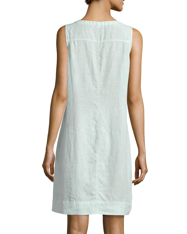 cbe6f81efc Lyst - Eileen Fisher Sleeveless Organic Linen Dress in Green