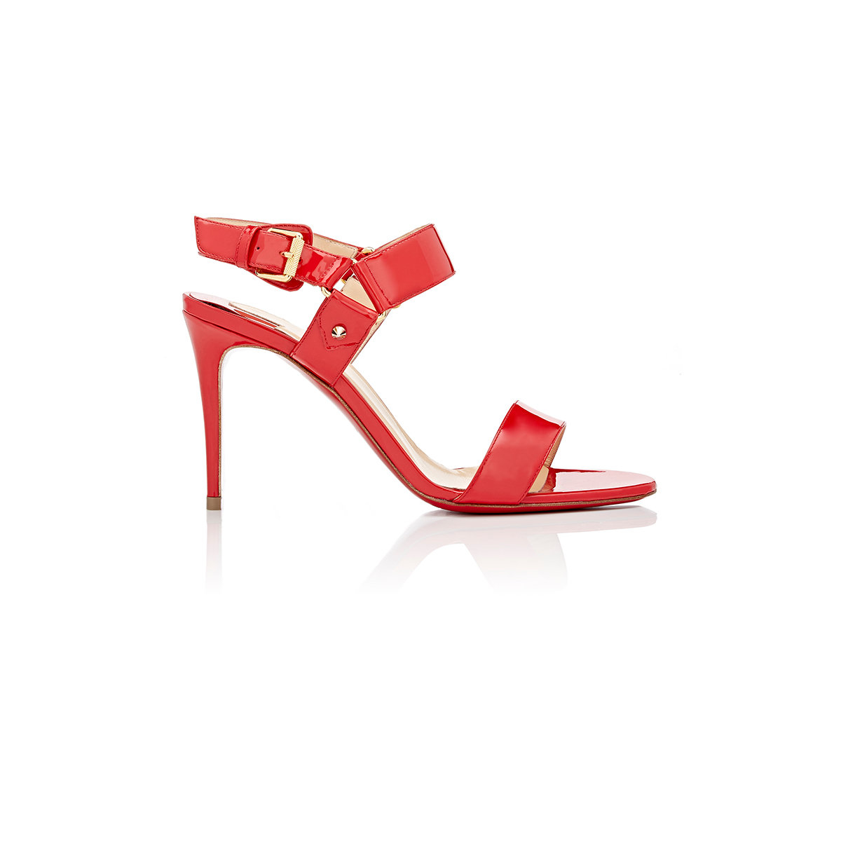 0d512dfdf72d Christian Louboutin Sova Buckled Patent Leather Sandals in Red - Lyst