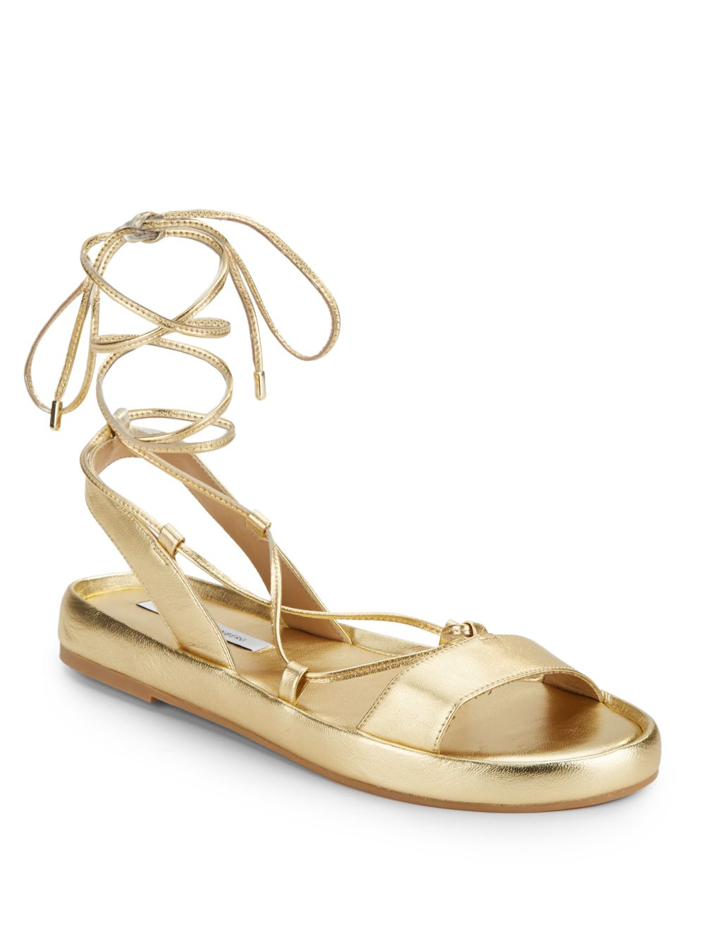 online for sale Diane von Furstenberg Metallic Lace-Up Flats low cost sale online best store to get for sale wW7MgH4