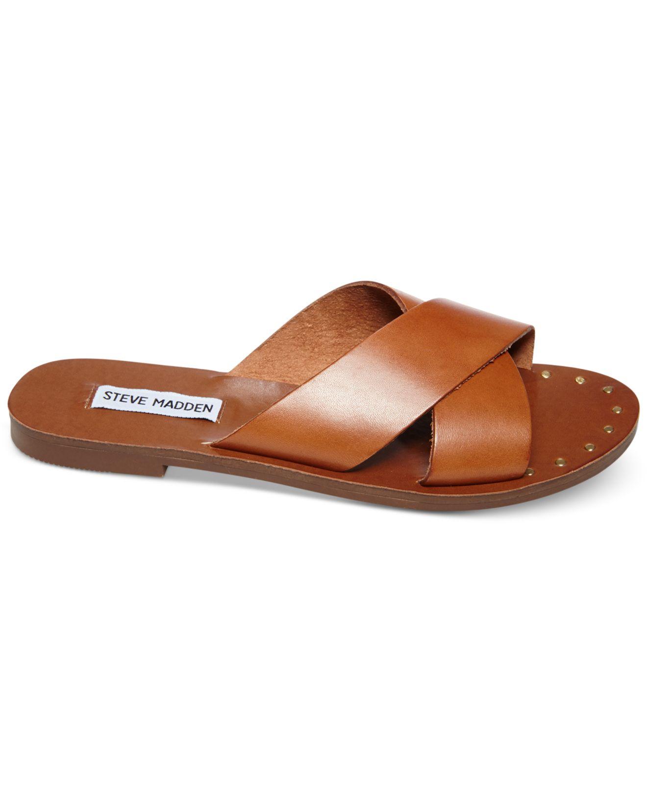 20e6dd05e Steve Madden Dryzzle Crisscross Sandals in Brown - Lyst