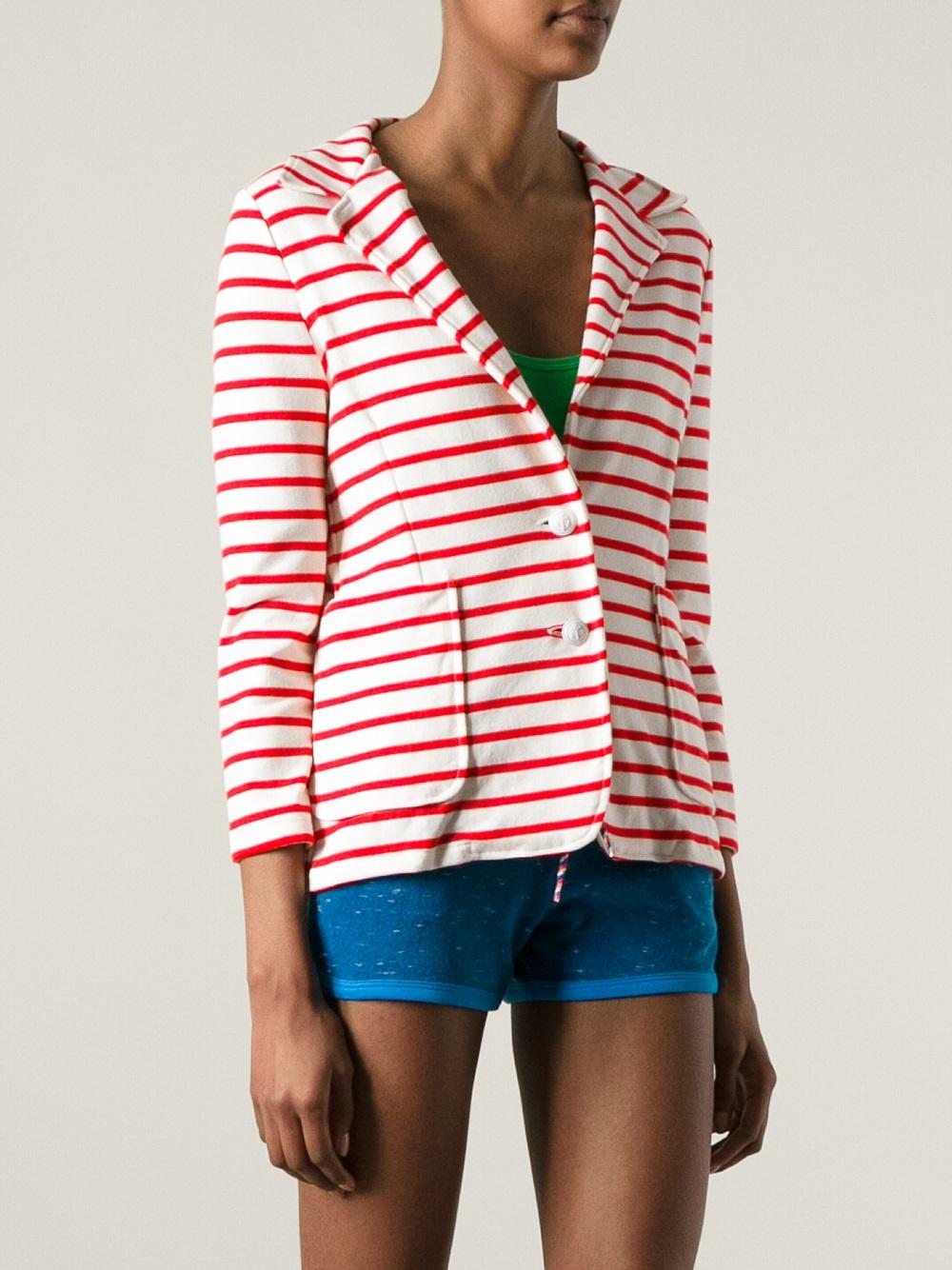 Lyst petit bateau striped blazer in red for Petit bateau striped shirt