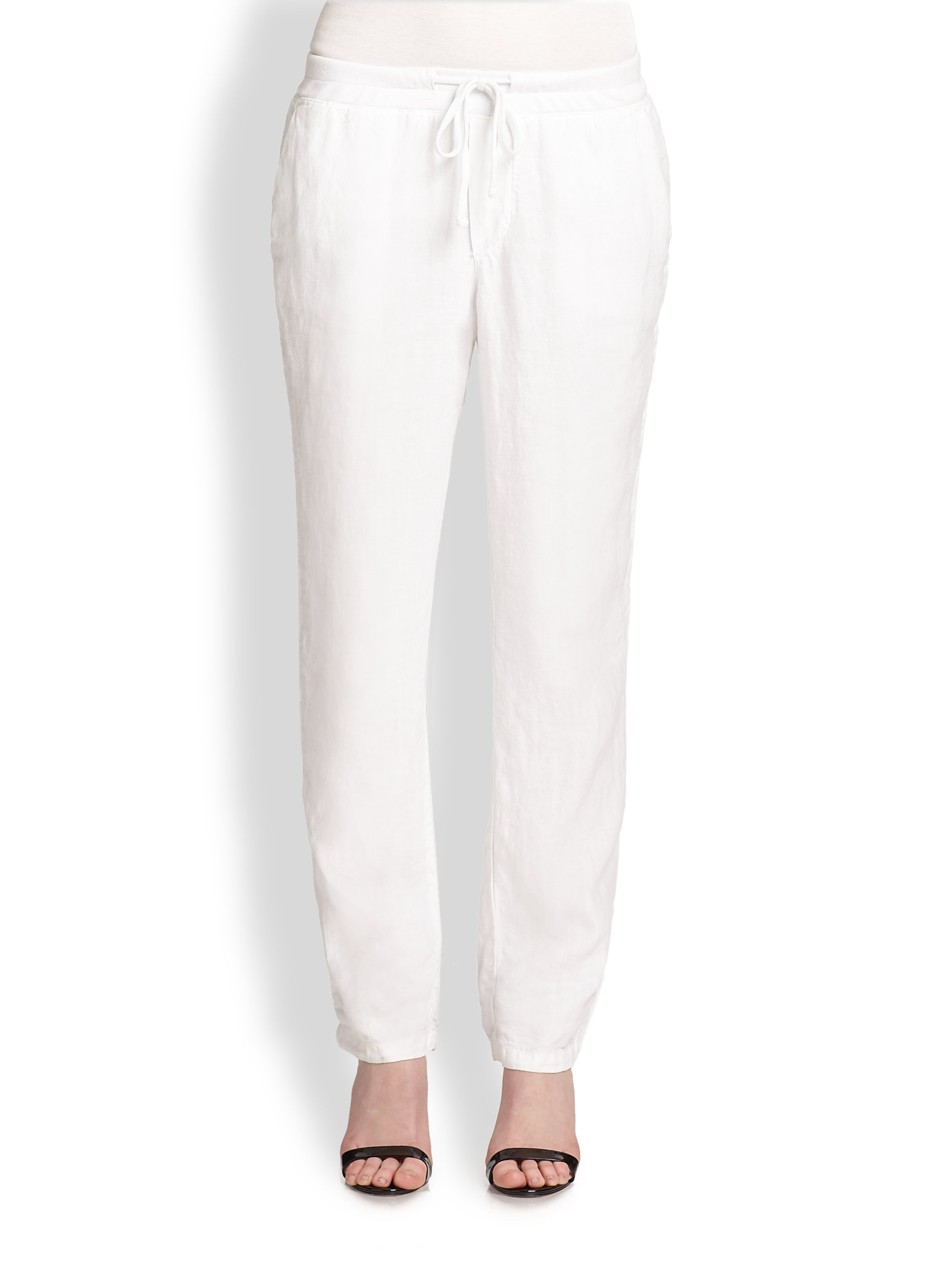 White Drawstring trousers James Perse wuMLnaQ0