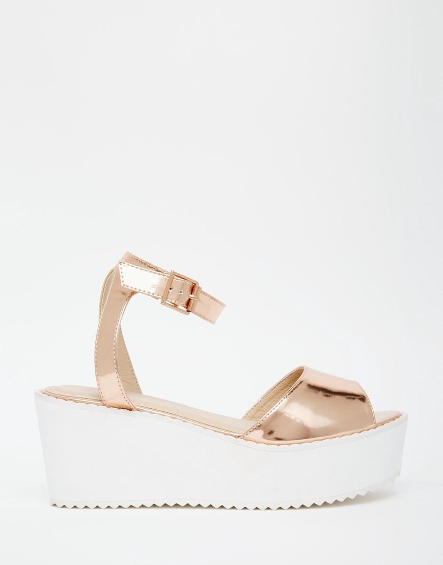 df219f0938 ASOS Teddy Wedge Sandals in Metallic - Lyst