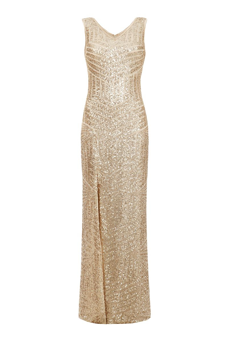 Lyst quiz champagne sequin zig zag split maxi dress in for Champagne seguin