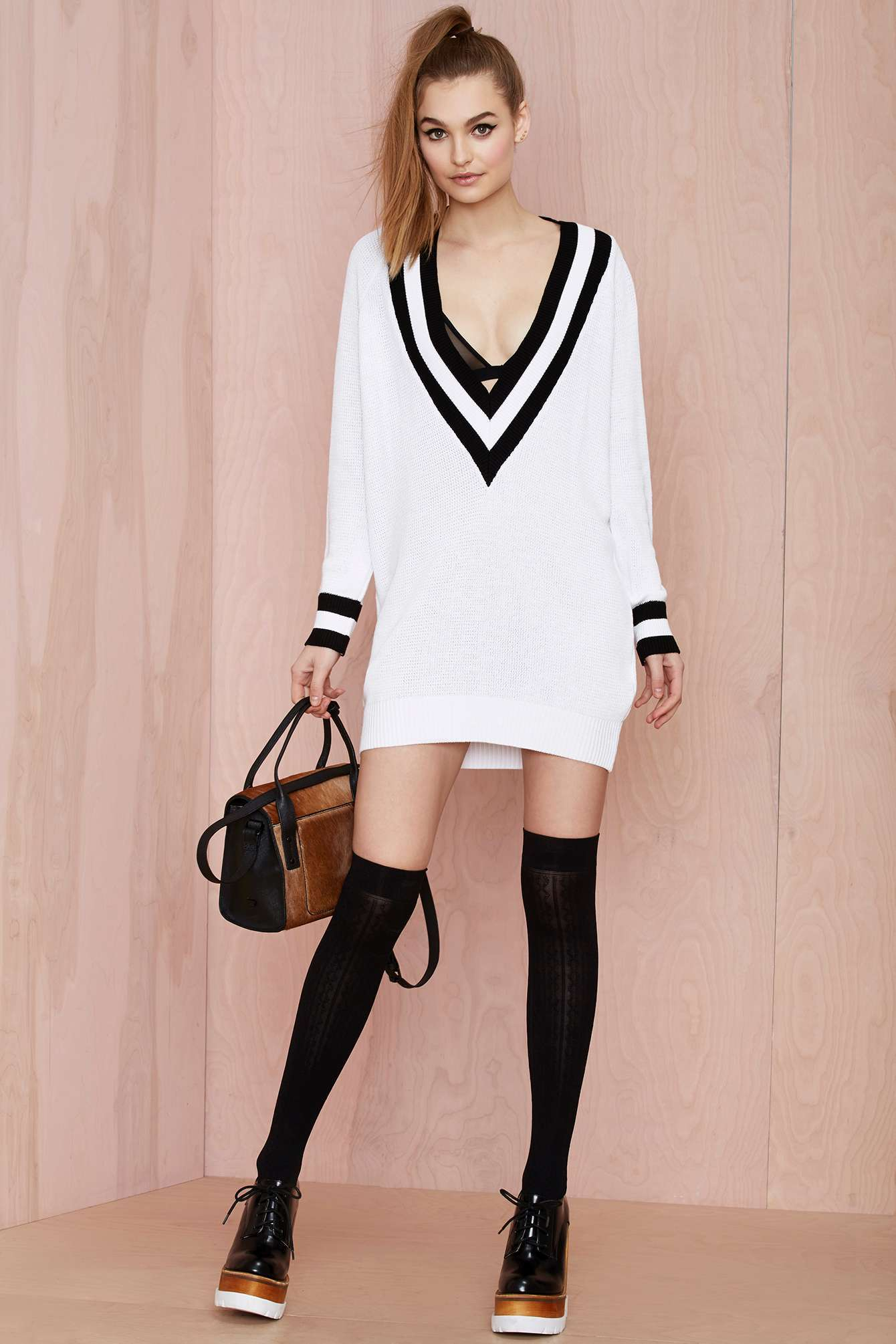 52e9a8b12ce Nasty Gal Club Kid Plunging Sweater Dress in White - Lyst