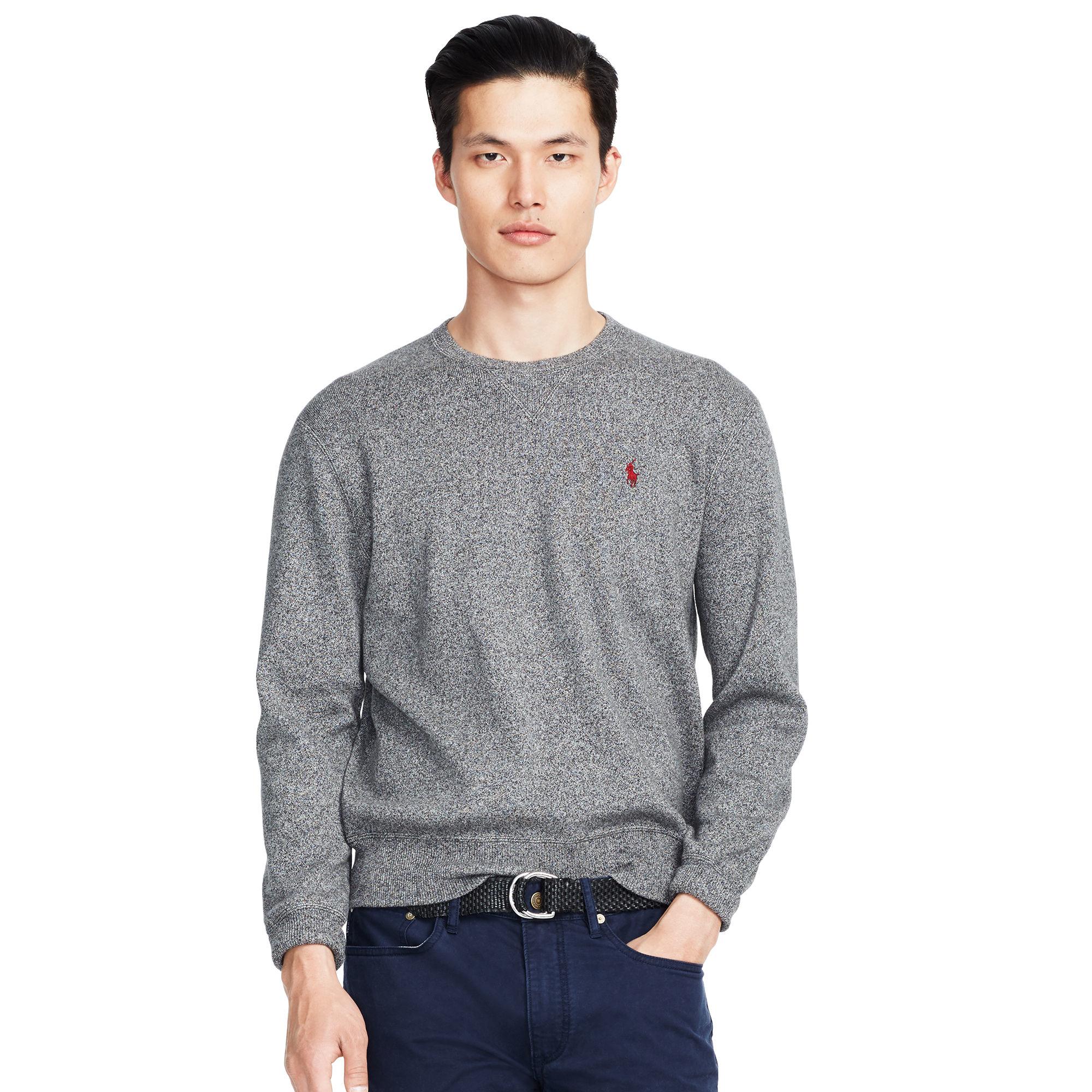 c505736f23d Polo Ralph Lauren Cotton Crewneck Sweater in Black for Men - Lyst