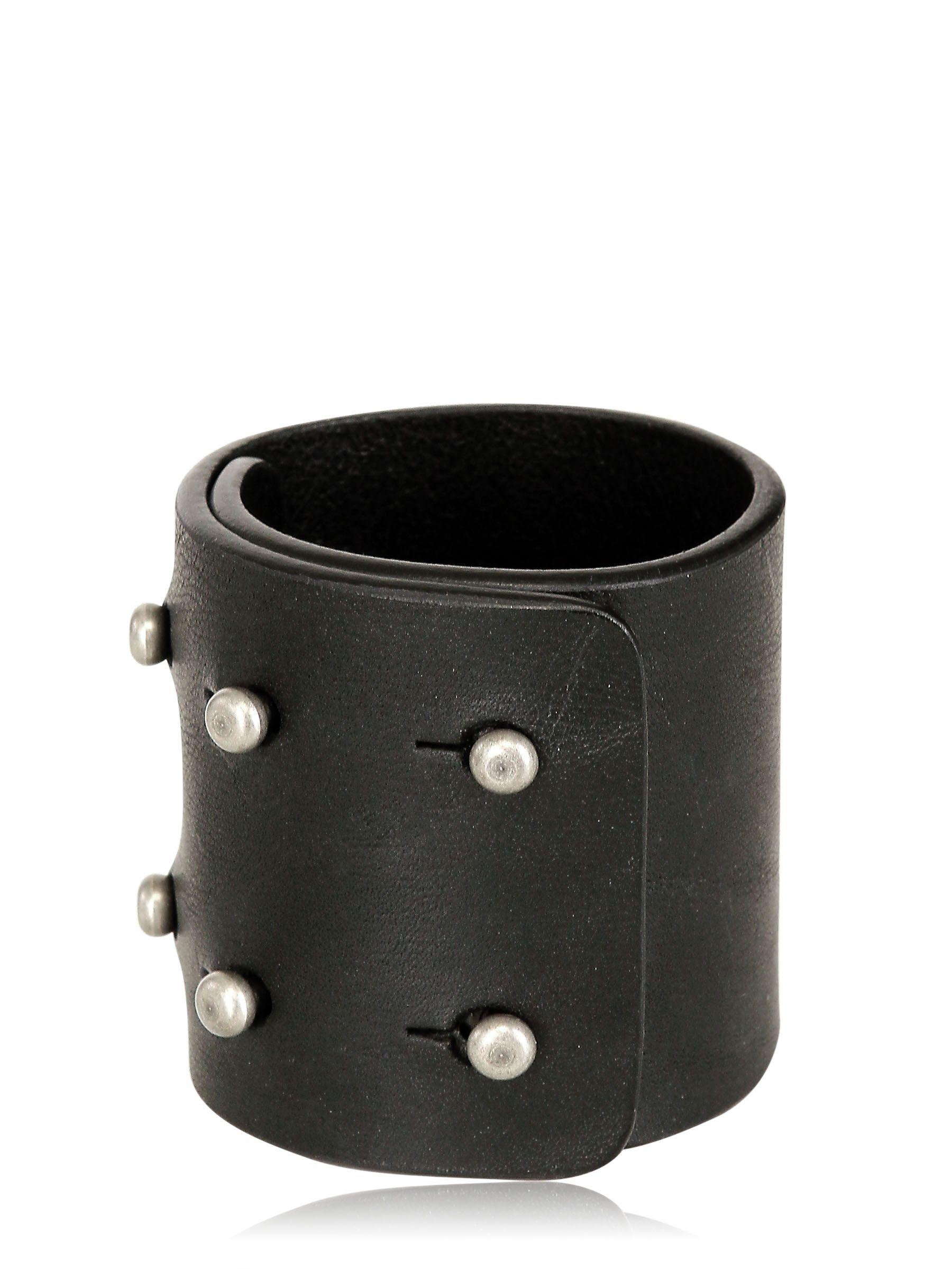 Rick Owens Leather Cuff Bracelet In Black Lyst