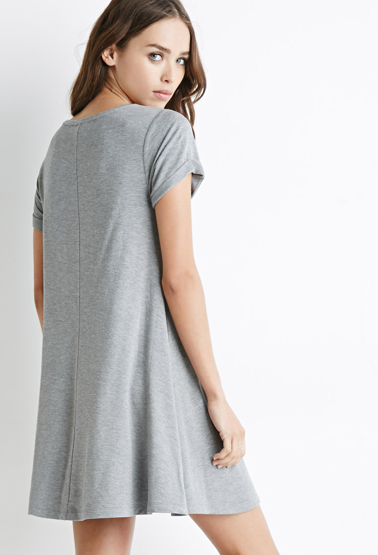 Forever 21 French Terry Trapeze Dress in Gray