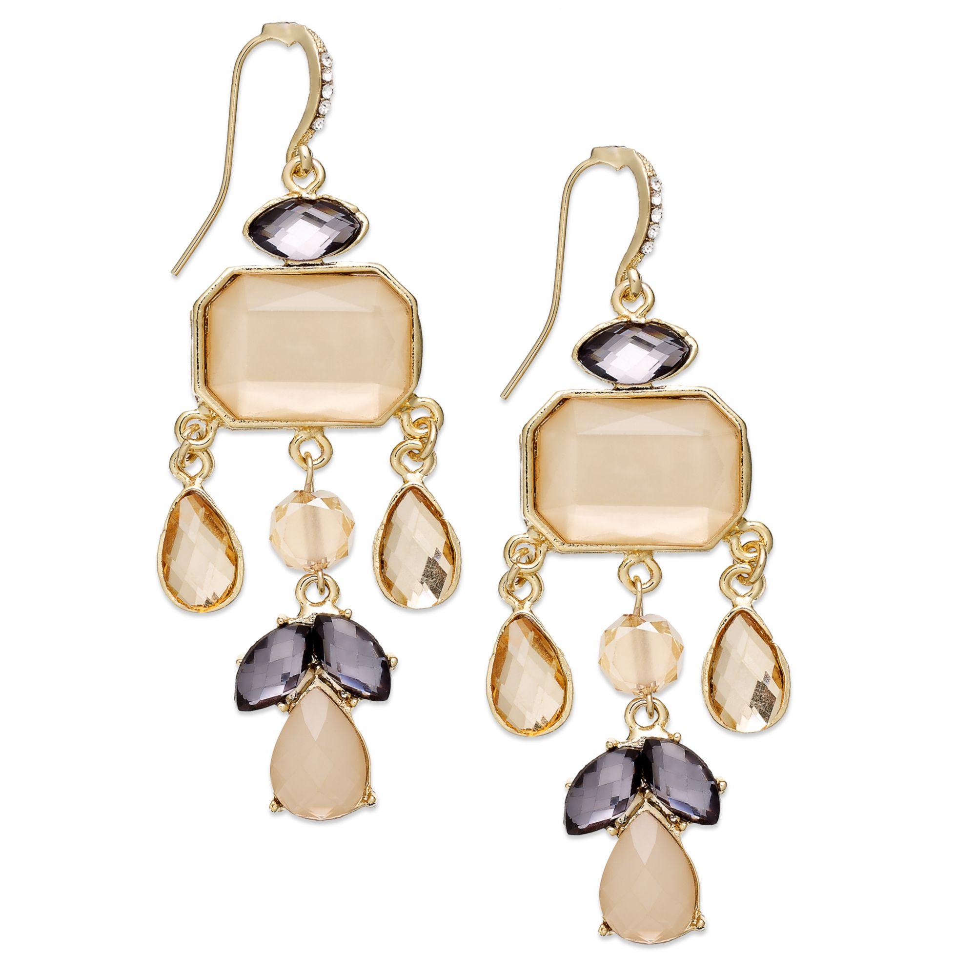 Inc international concepts Goldtone Blush and Black Diamond Stone – Black Diamond Chandelier Earrings