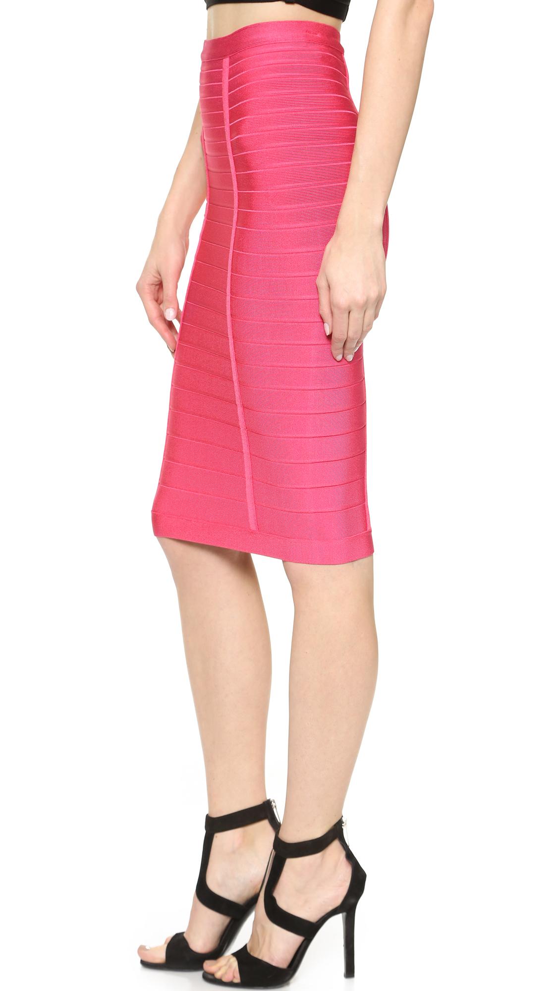 Hervé léger Kaitlin Pencil Skirt - Bright Pink in Pink | Lyst