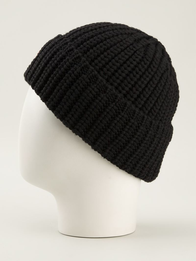 ribbed knit beanie - Black Moncler