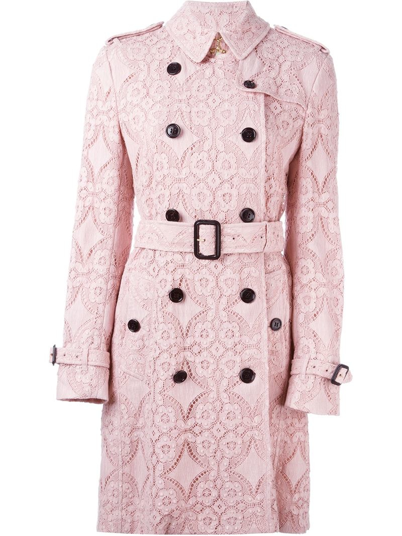 Lyst Burberry Floral Lace Trench Coat In Pink