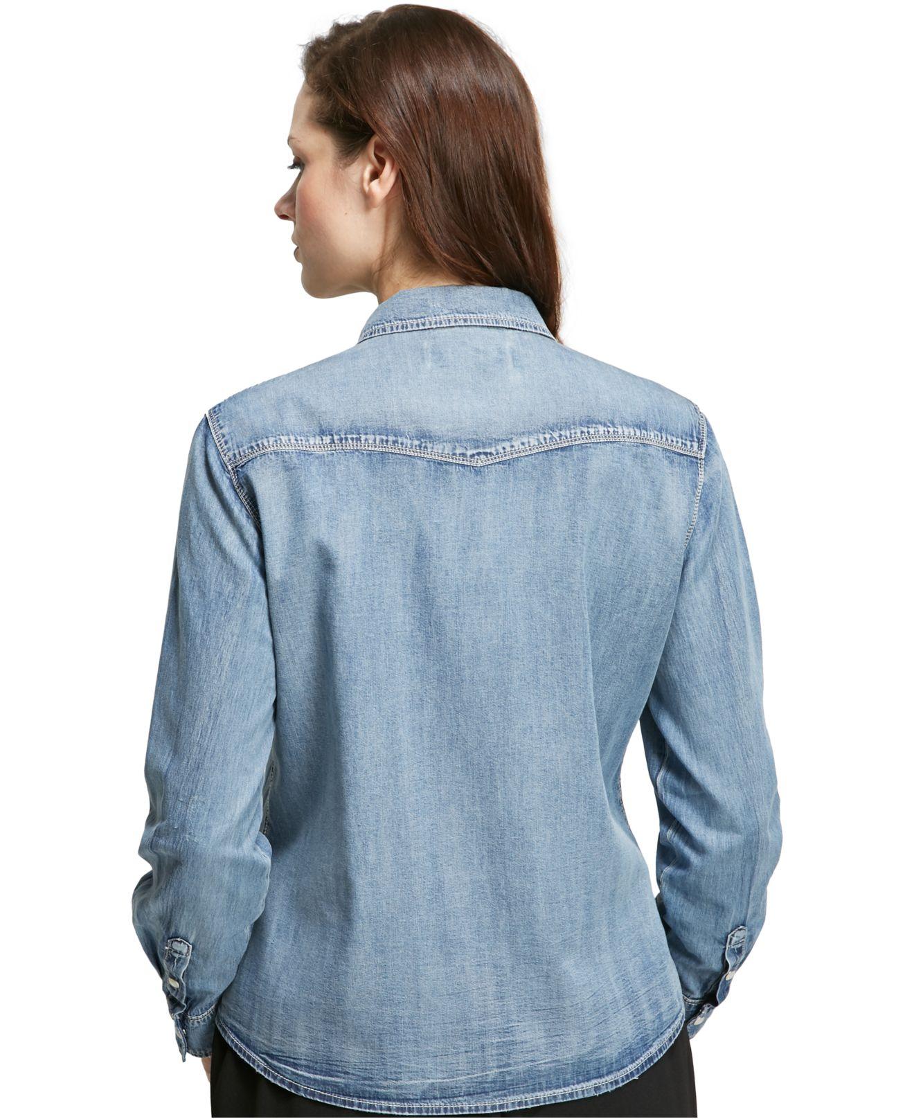 Violeta By Mango Plus Size Chambray Shirt In Blue Lyst