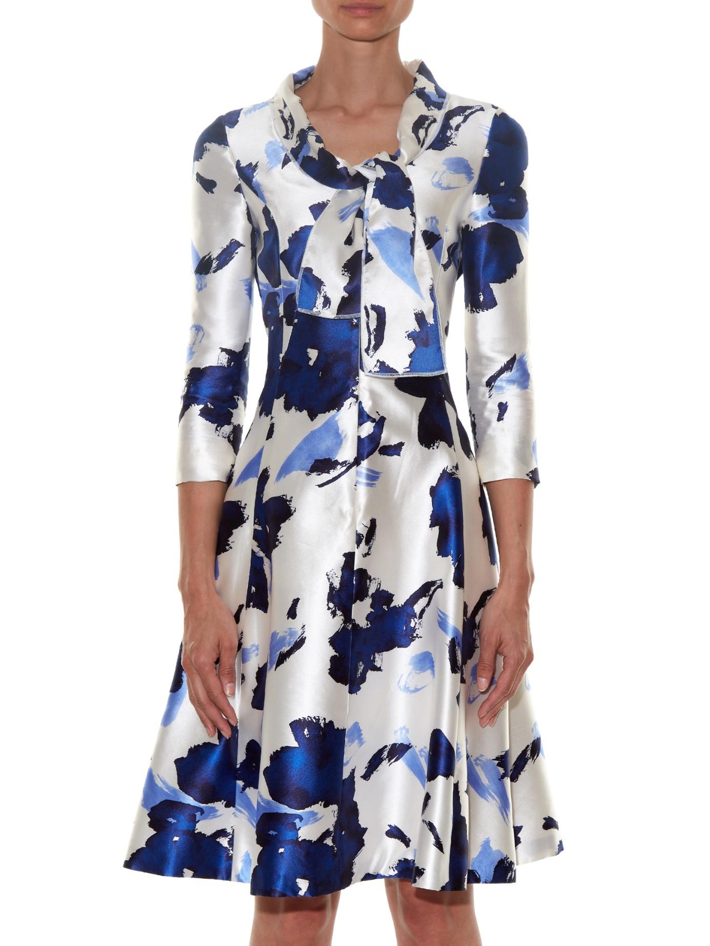 Lyst Oscar De La A Fl Print Silk Mikado Dress In Blue