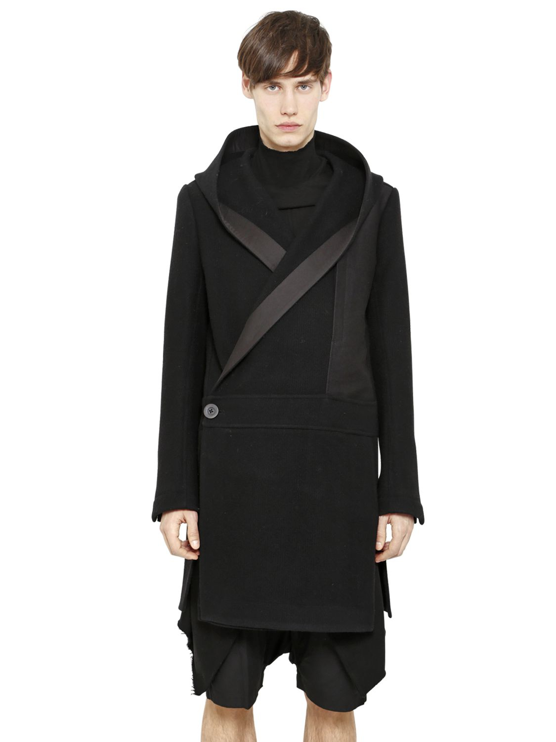 Rick owens Hooded Cotton & Wool Duffle Coat in Black for Men | Lyst