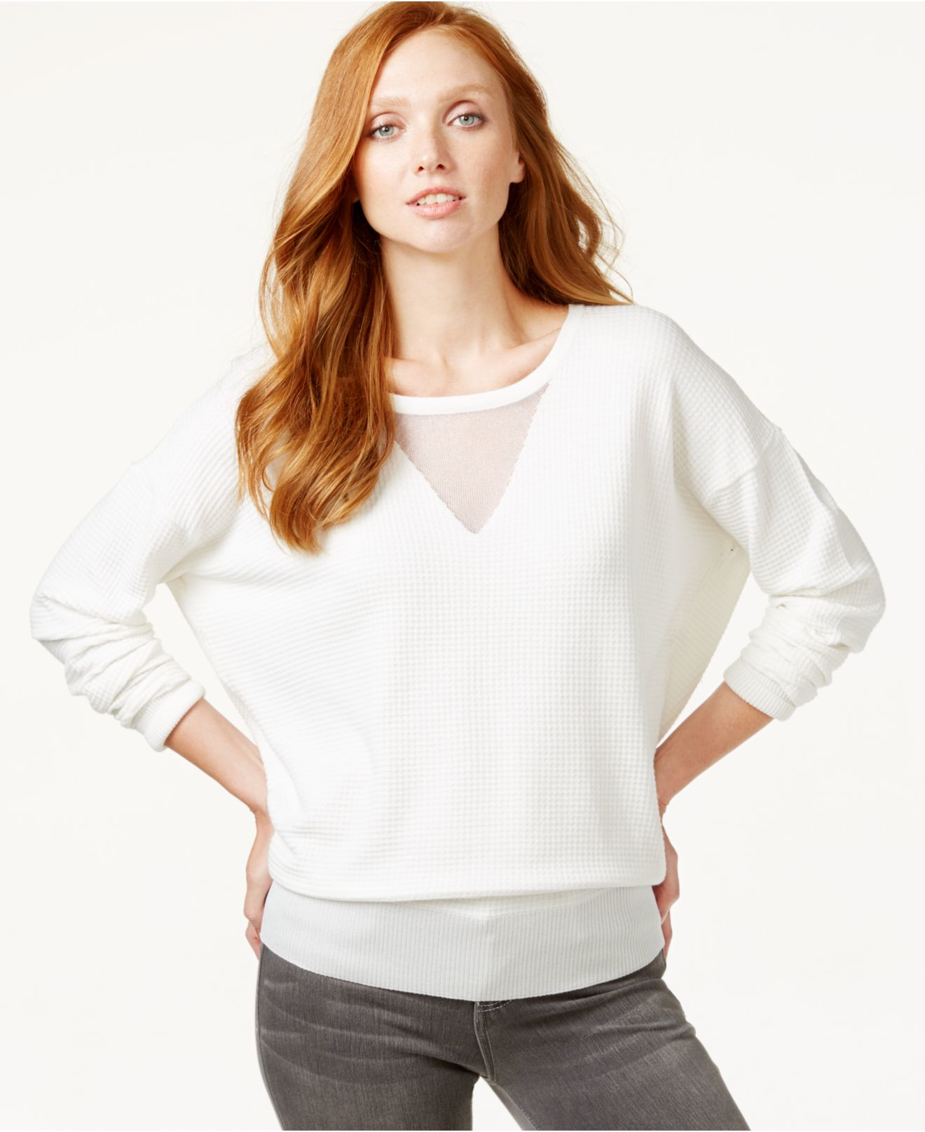 4b8f35fd88b5c Lyst - Calvin Klein Sheer-neck Long-sleeve Top in White