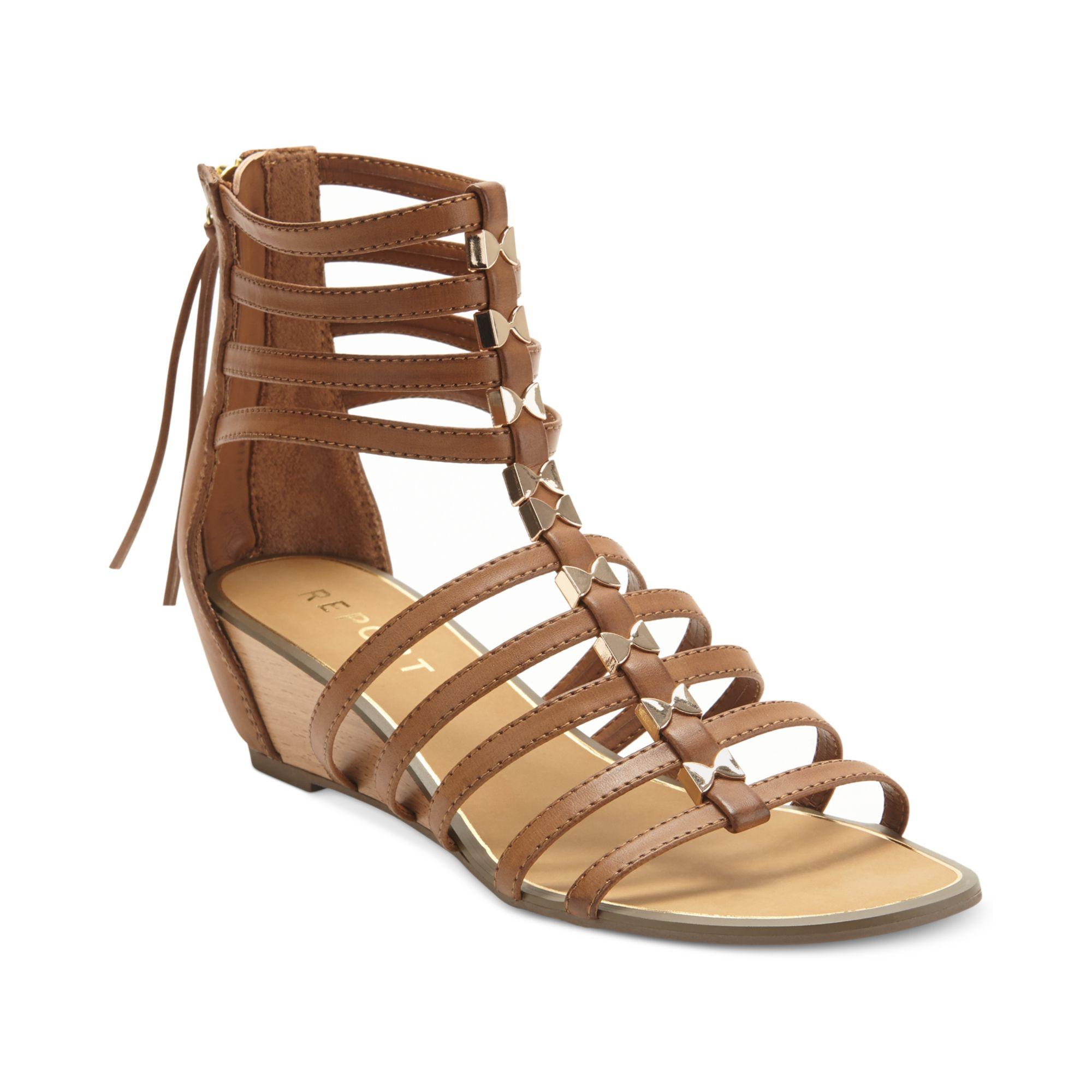 Report Megan Gladiator Wedge Sandals In Brown Tan Lyst