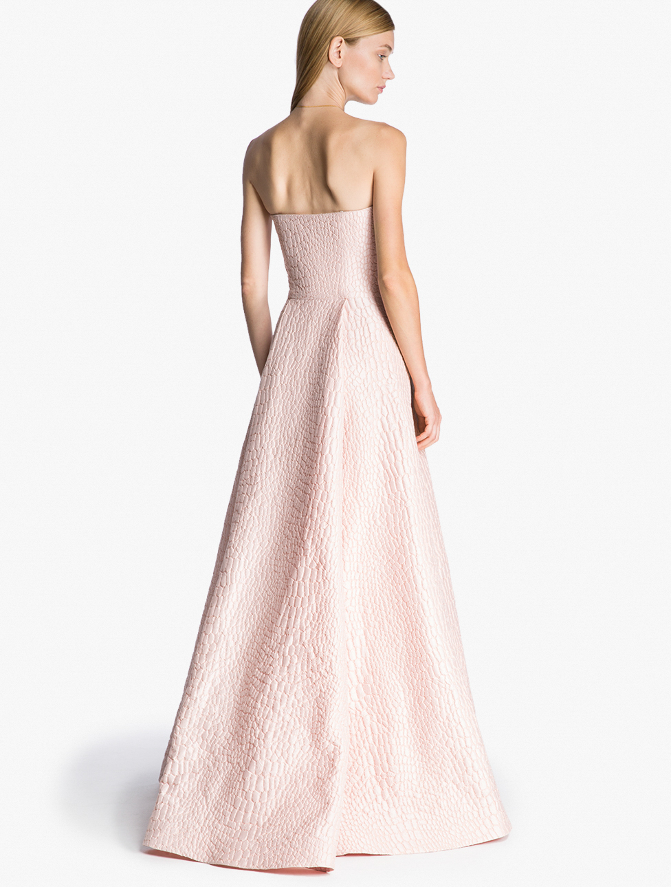 Lyst - Halston Strapless Reptile Jacquard Gown in Pink