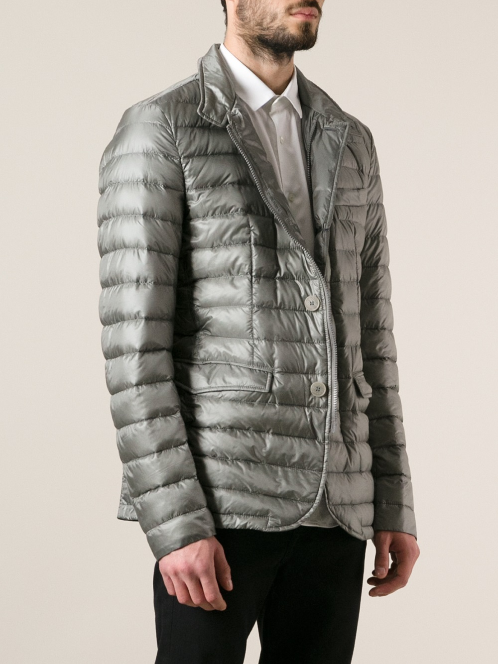 Herno Feather Down Jacket In Gray For Men Lyst