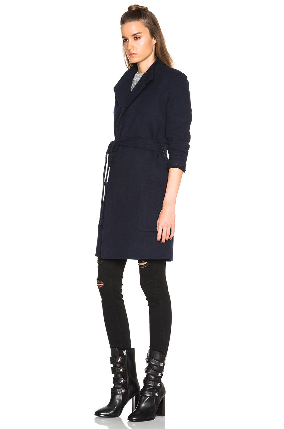 James perse Brushed Fleece Wrap Coat in Blue | Lyst
