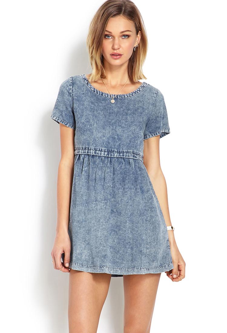 lyst  forever 21 distressed denim babydoll dress in blue