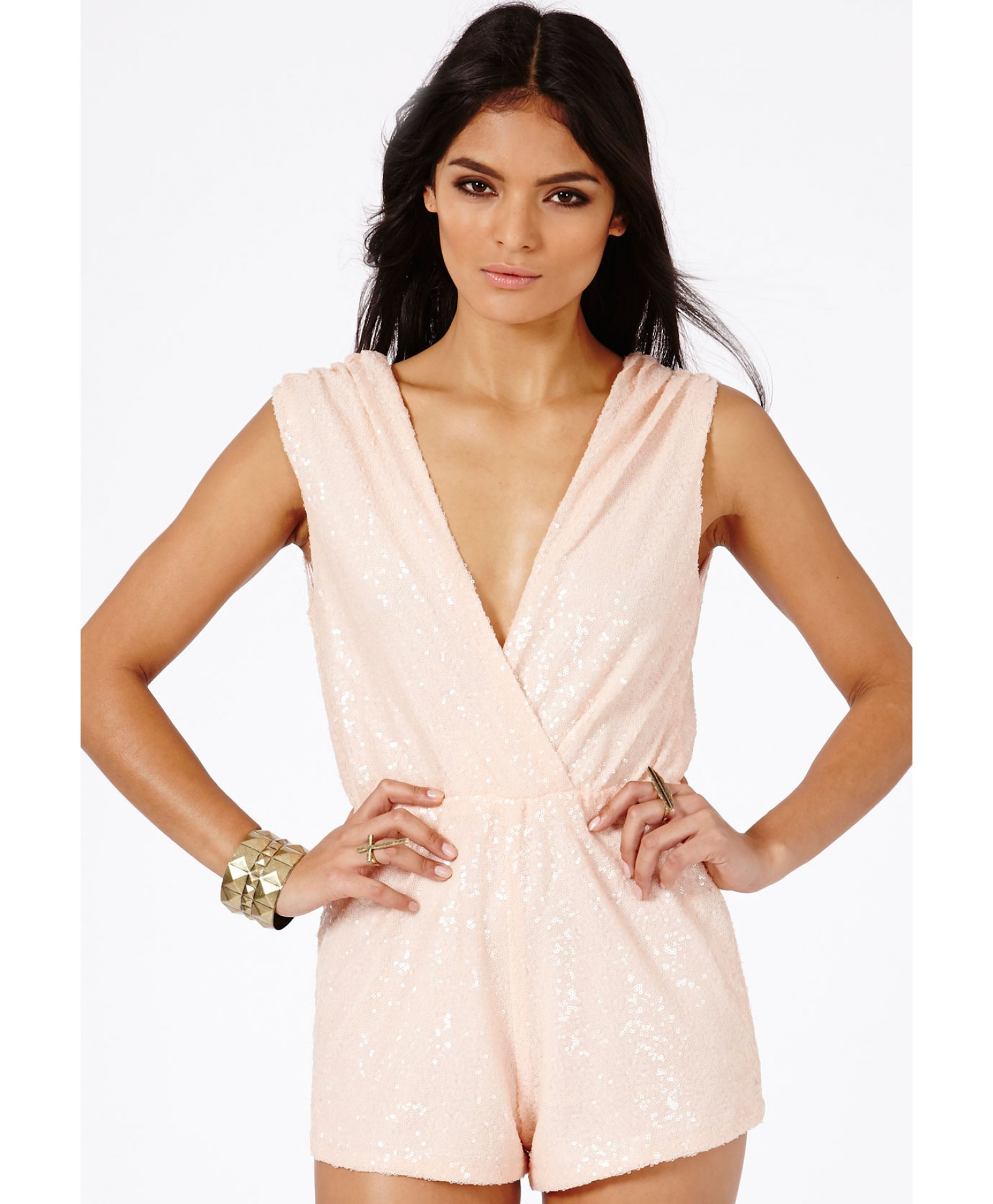 c1a6ff351b Missguided Kandis Sequin Crossover Playsuit In Nude in Natural - Lyst