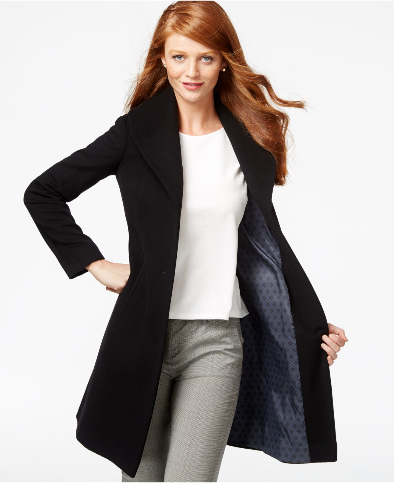 Anne klein Cashmere-blend Walker Coat in Black | Lyst