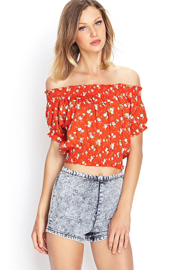 9300f6838ac2f Lyst - Forever 21 Floral Off-the-shoulder Top in Red