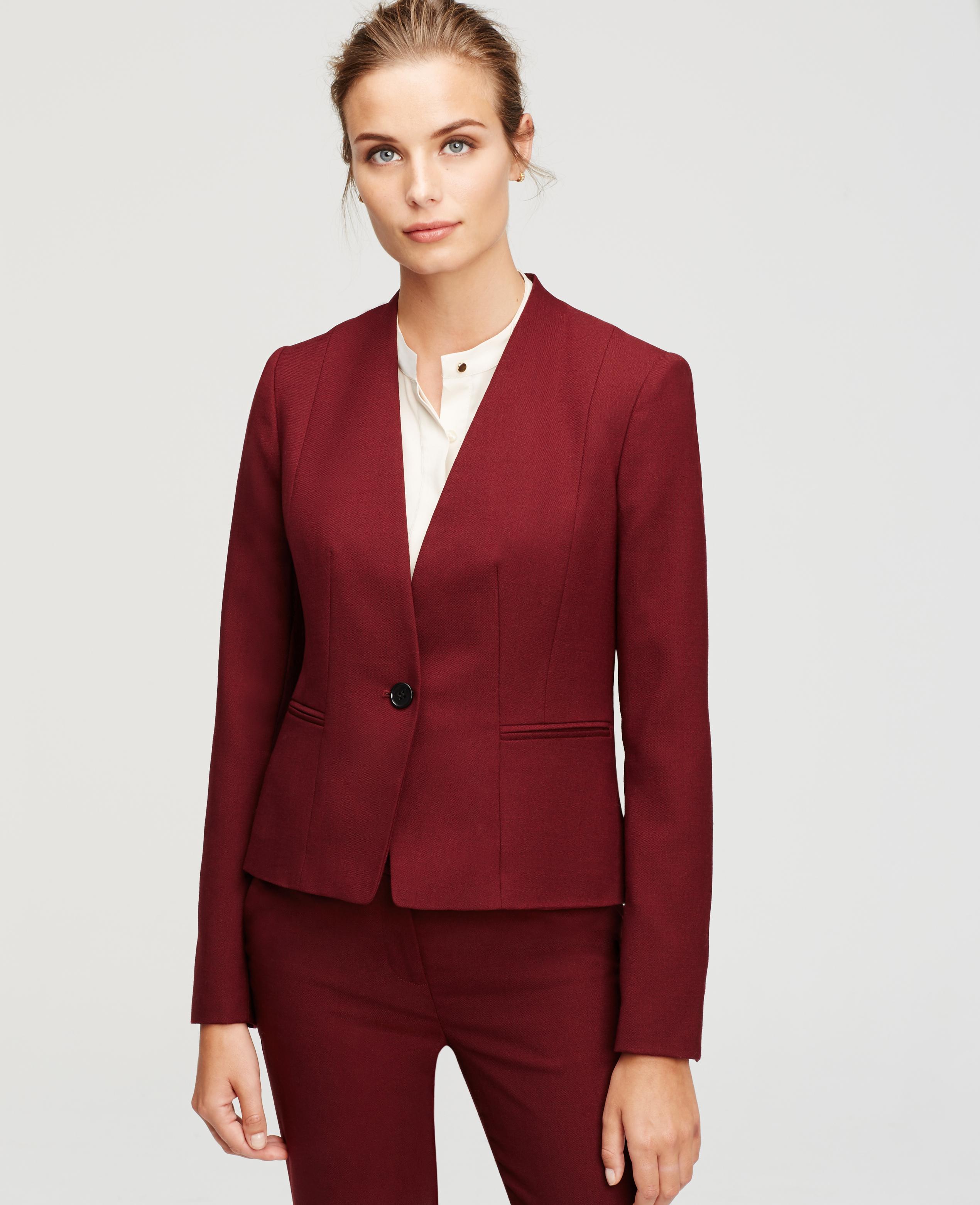 Black textured collarless jacket