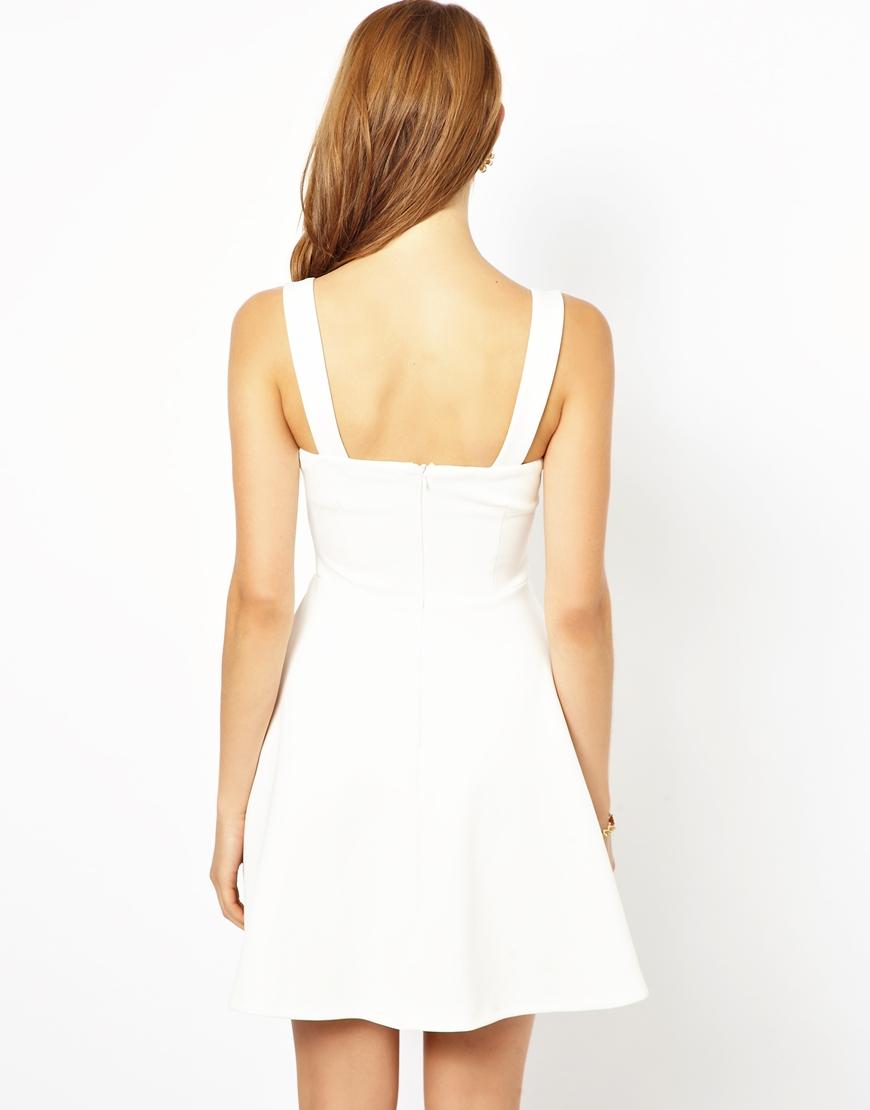 Ax Paris Sweetheart Neckline Skater Dress In White Lyst