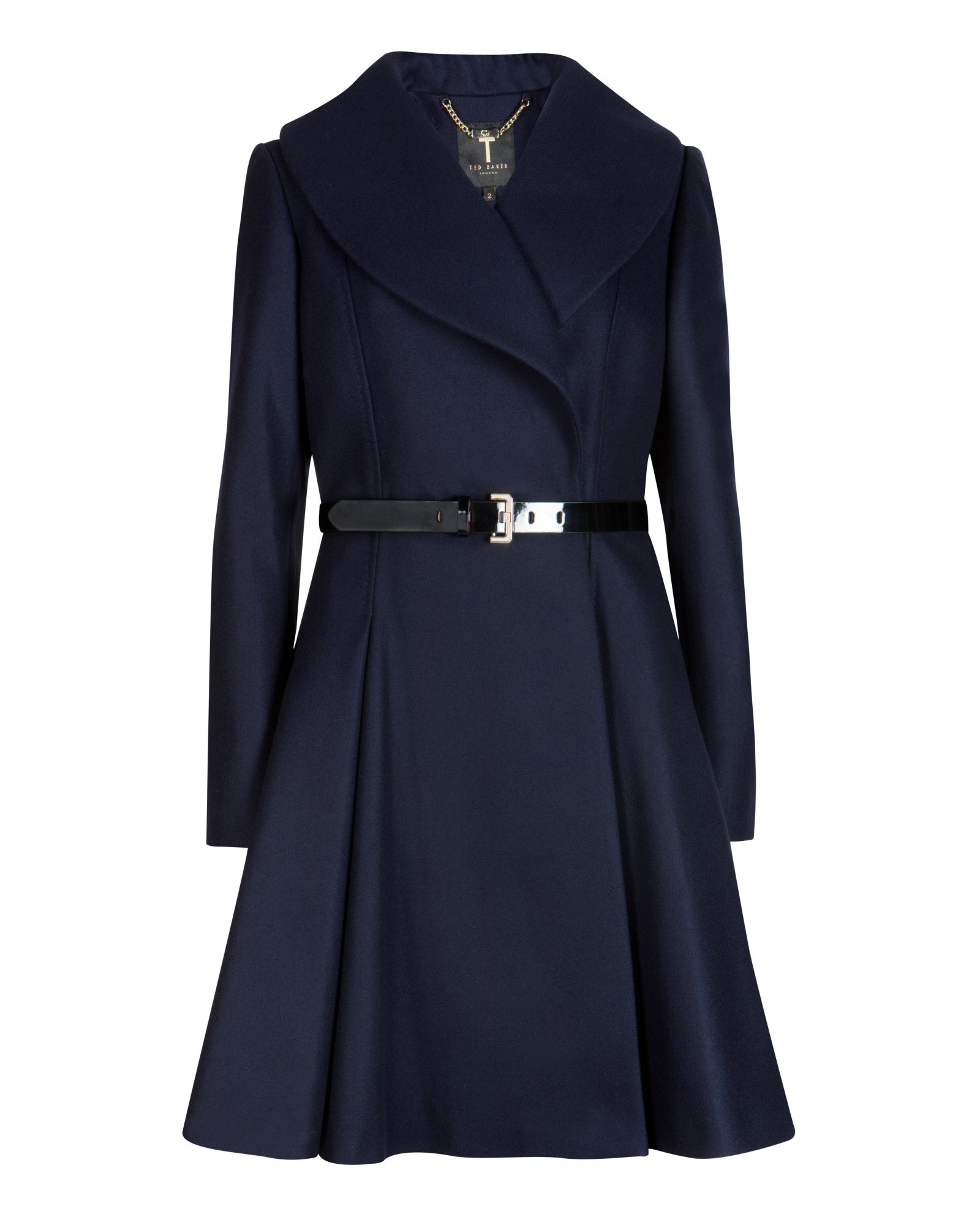 ed89848755fc Lyst - Ted Baker Flared Skirt Coat in Blue