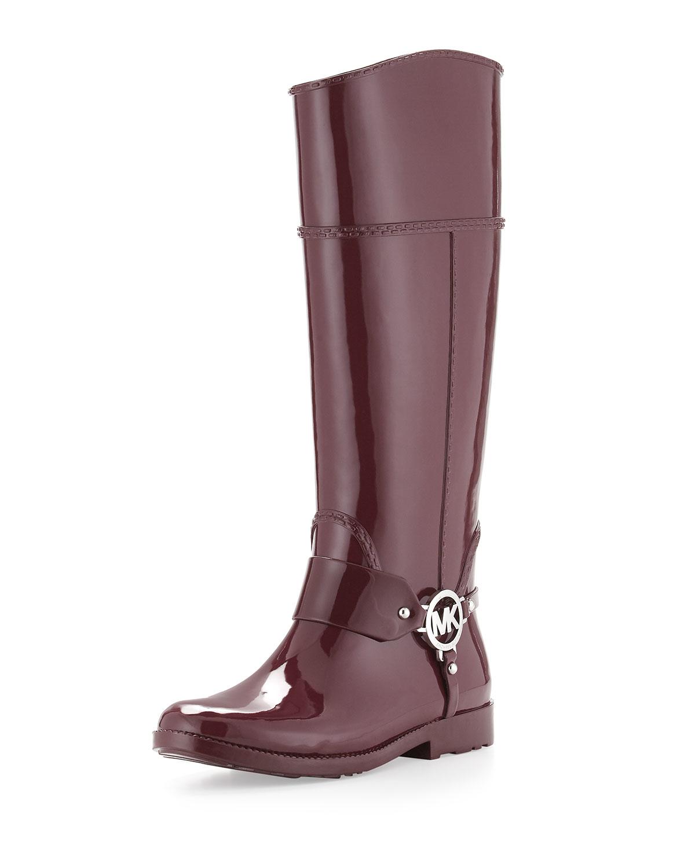 michael michael kors fulton harness rain boot in purple merlot lyst. Black Bedroom Furniture Sets. Home Design Ideas