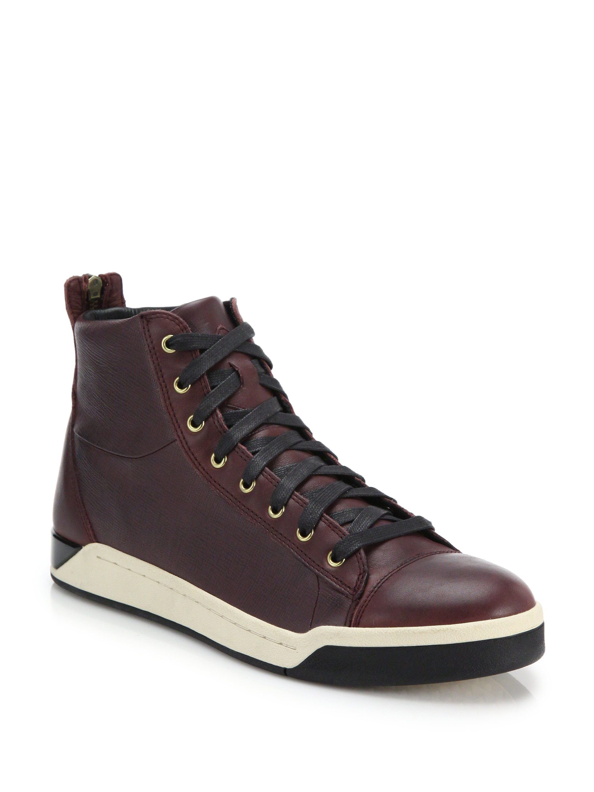 8ad8a9e7f6 Lyst - DIESEL Tempus Diamond Leather High-top Sneakers in Brown for Men
