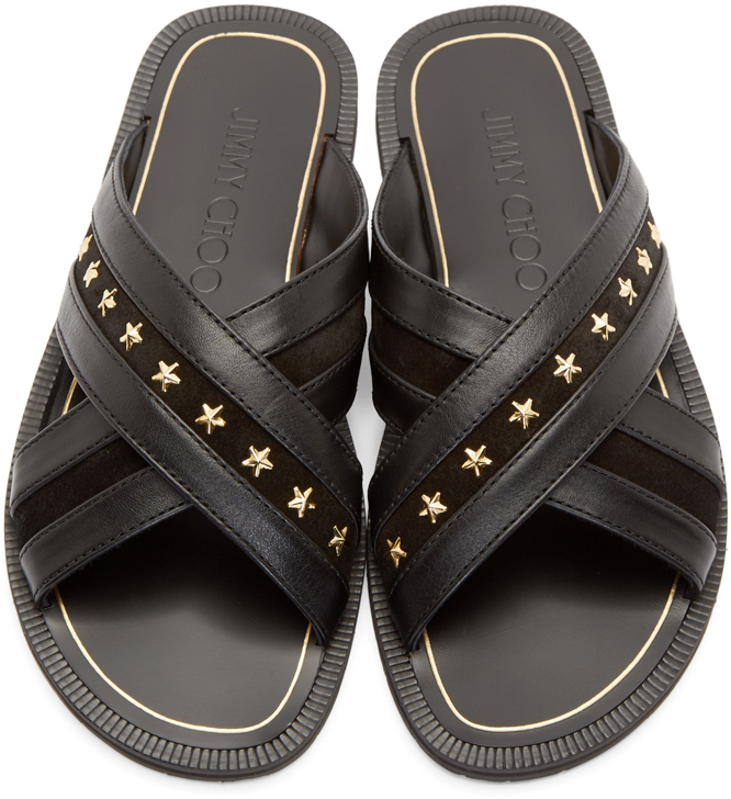 f2a67d715cf4 Lyst - Jimmy Choo Black Star Studded Wally Sandals in Black for Men