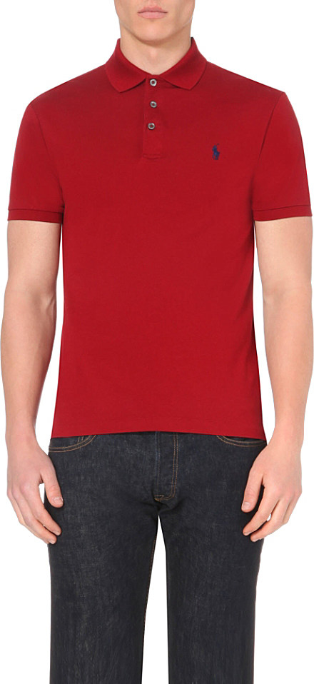 Polo ralph lauren slim fit stretch cotton polo shirt in for Stretch polo shirt mens
