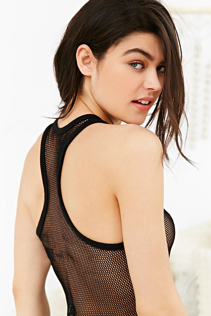1485eeb6085f2 Lyst - Out From Under Mesh Net Tank Top in Black