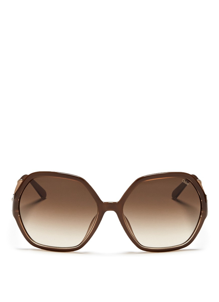 Buckle Sunglasses  chloé buckle hinge plastic sunglasses in brown lyst