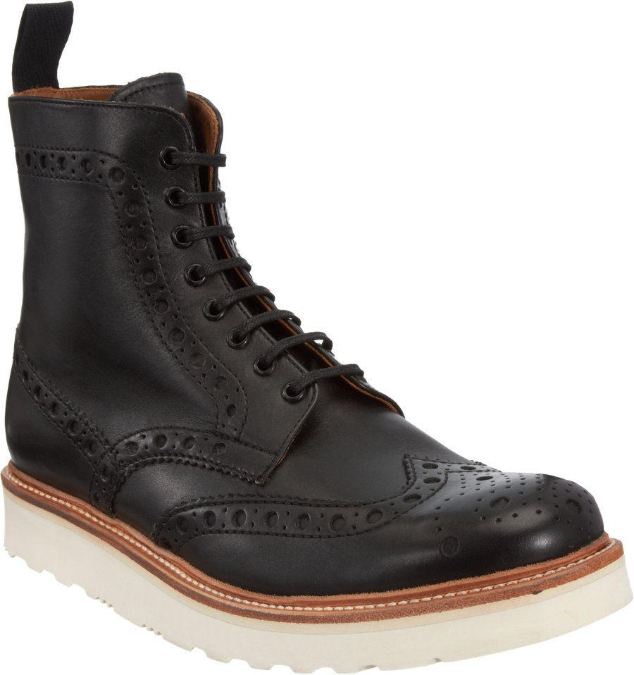grenson fred wingtip derby boots in black for lyst