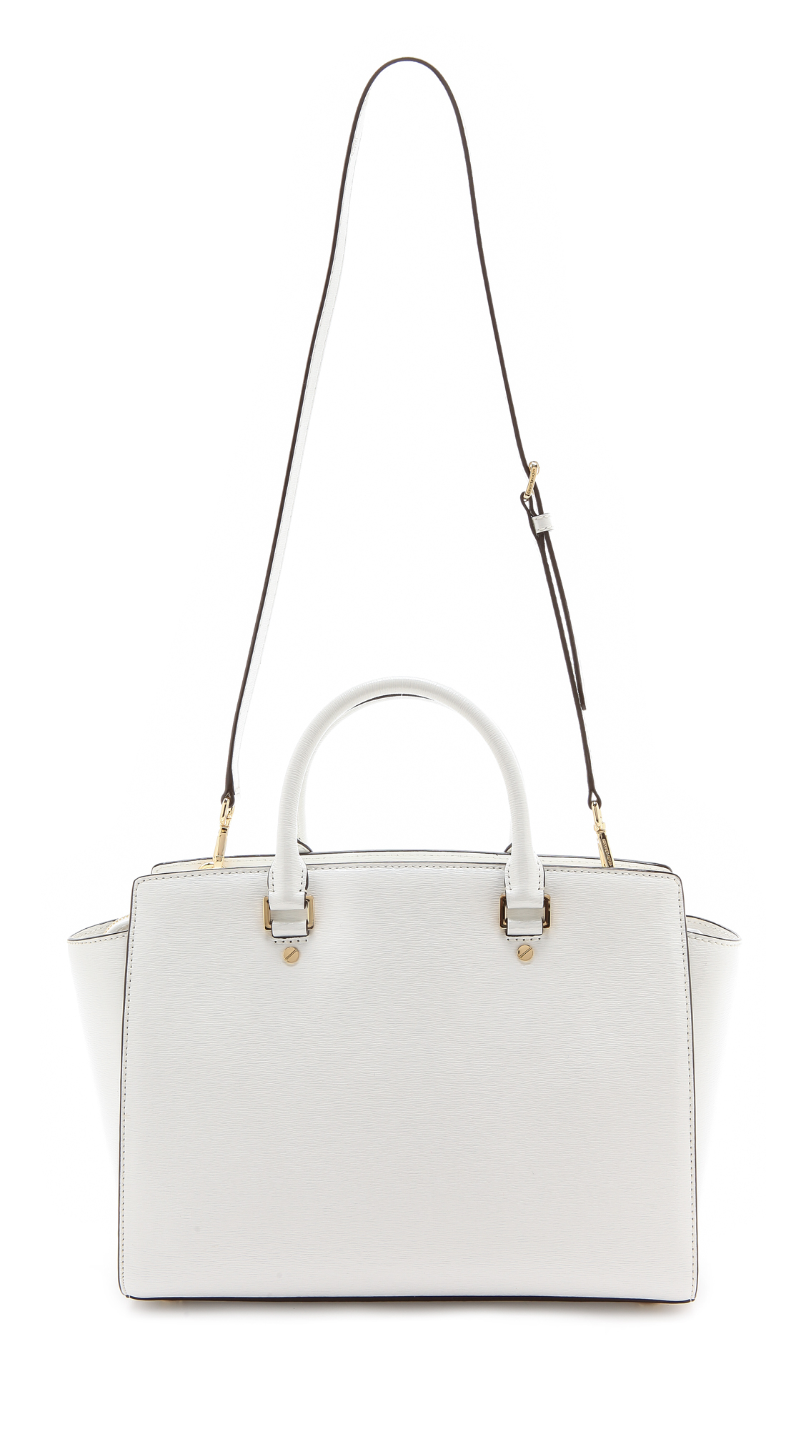 95a1ee5383 ... france lyst michael michael kors patent selma large top zip satchel  optic white in white 7af4f