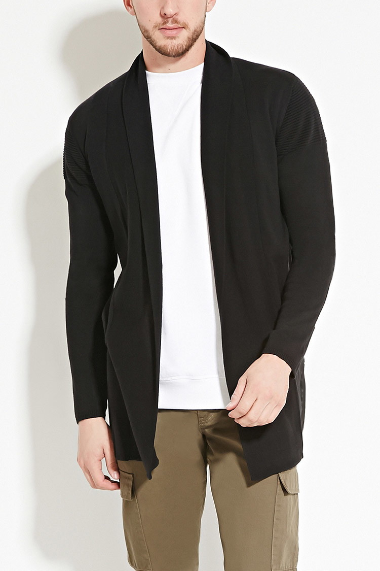 Forever 21 Zipped Open-front Cardigan in Black for Men | Lyst