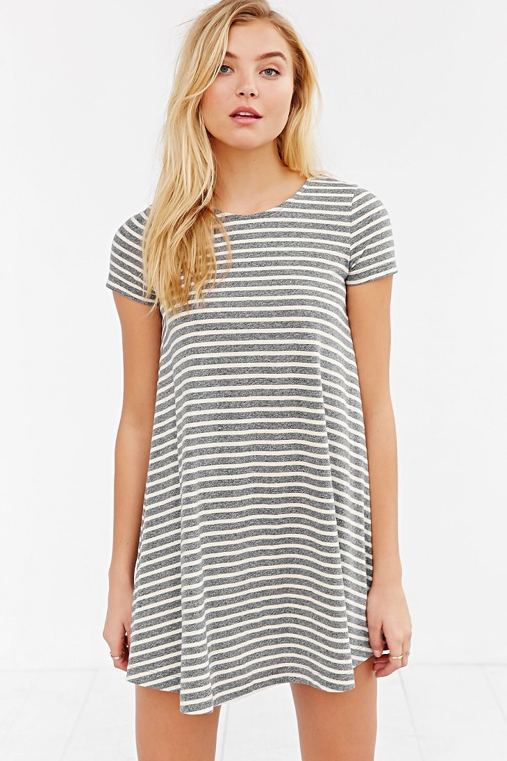 Lyst Bdg Striped Short Sleeve Swing T Shirt Dress In Black