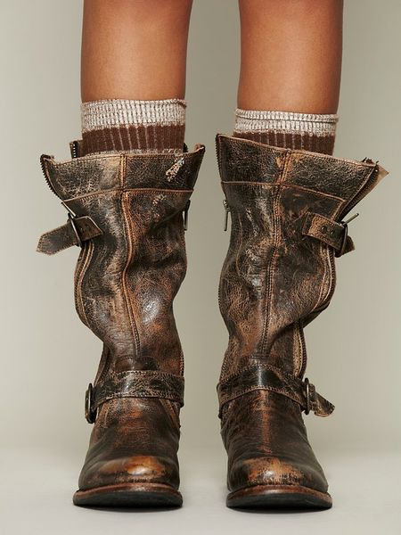 Free People Cafe Racer Boot In Brown Distressed Black Lyst