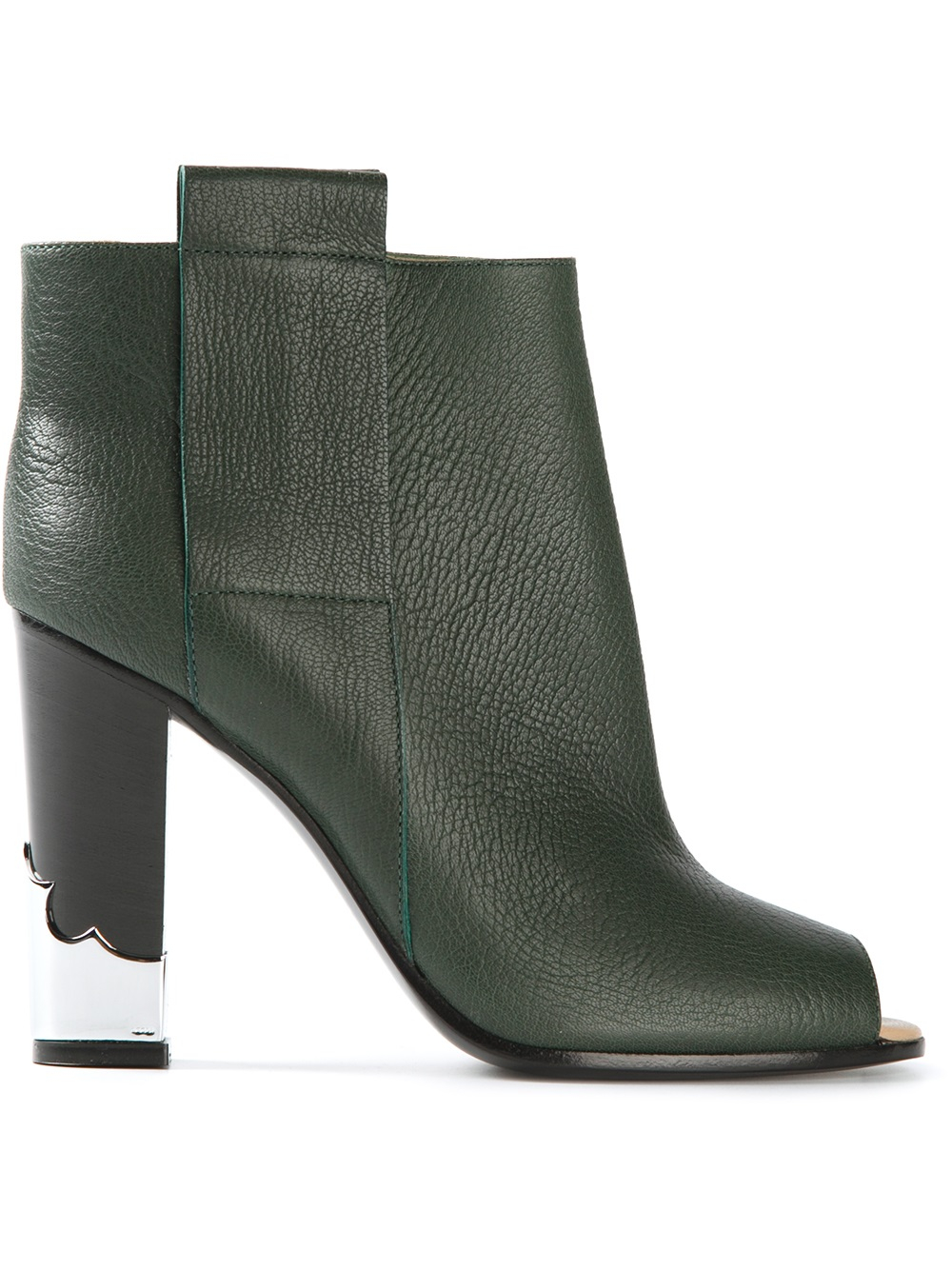 Golden goose deluxe brand Peep Toe Ankle Boots in Green | Lyst