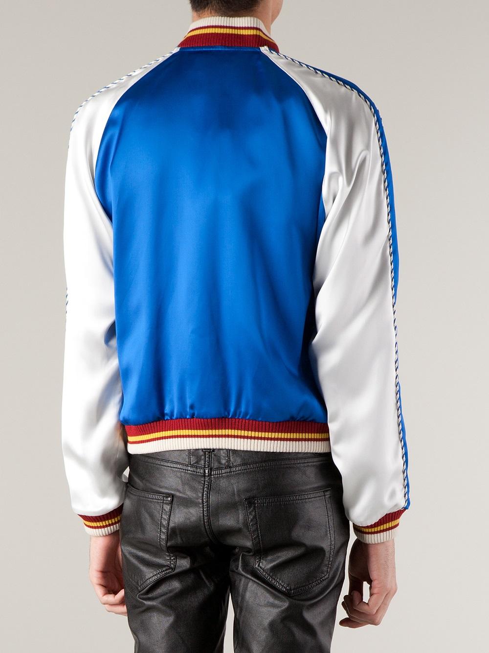 Saint laurent Colour Block Bomber Jacket in Blue for Men | Lyst